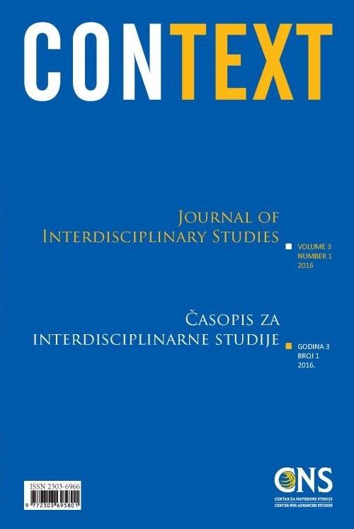 Pogledaj Svezak 3 Br. 1 (2016): Context: Časopis za interdisciplinarne studije