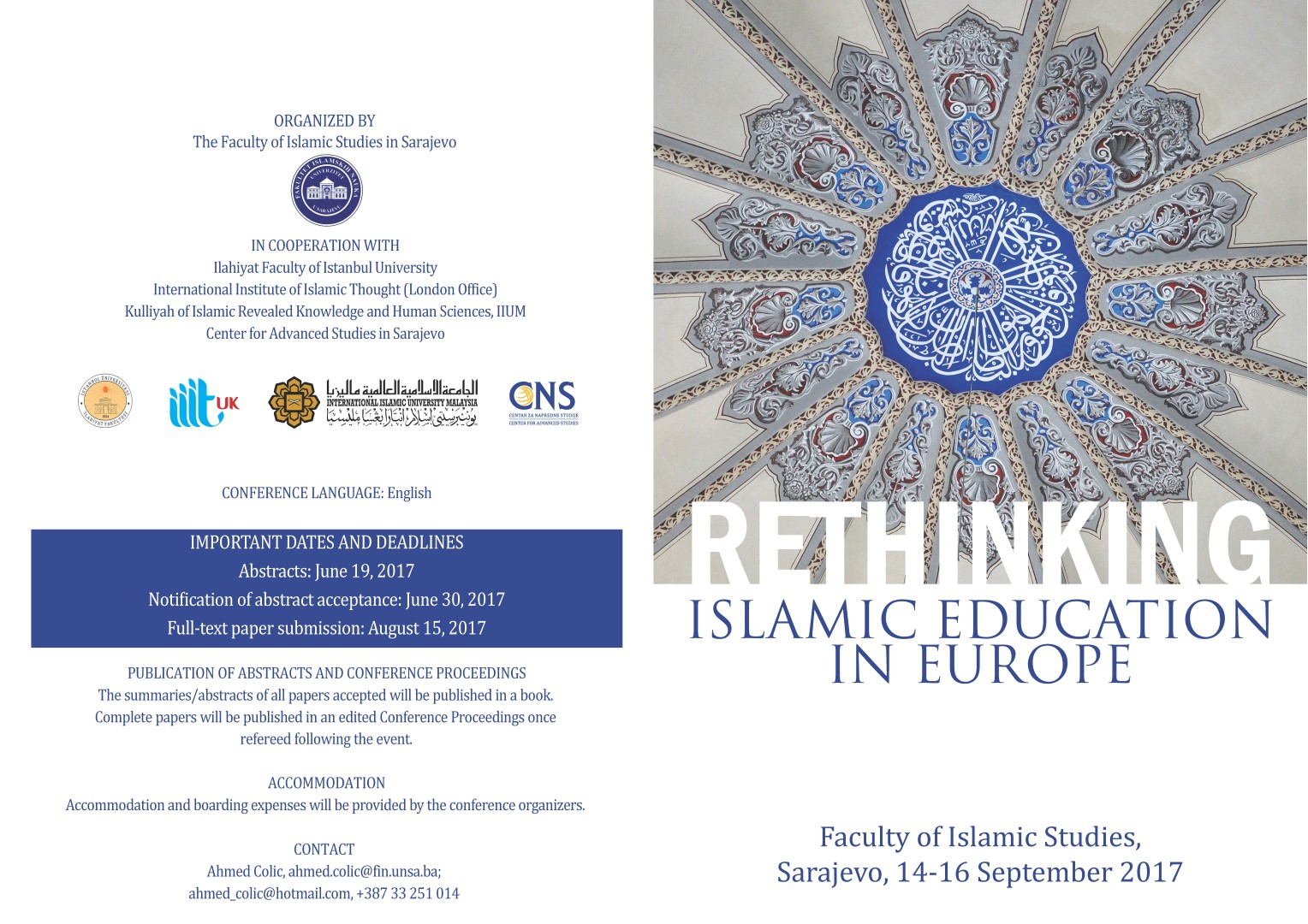 CALL for PAPERS: RETHINKING ISLAMIC EDUCATION IN EUROPE