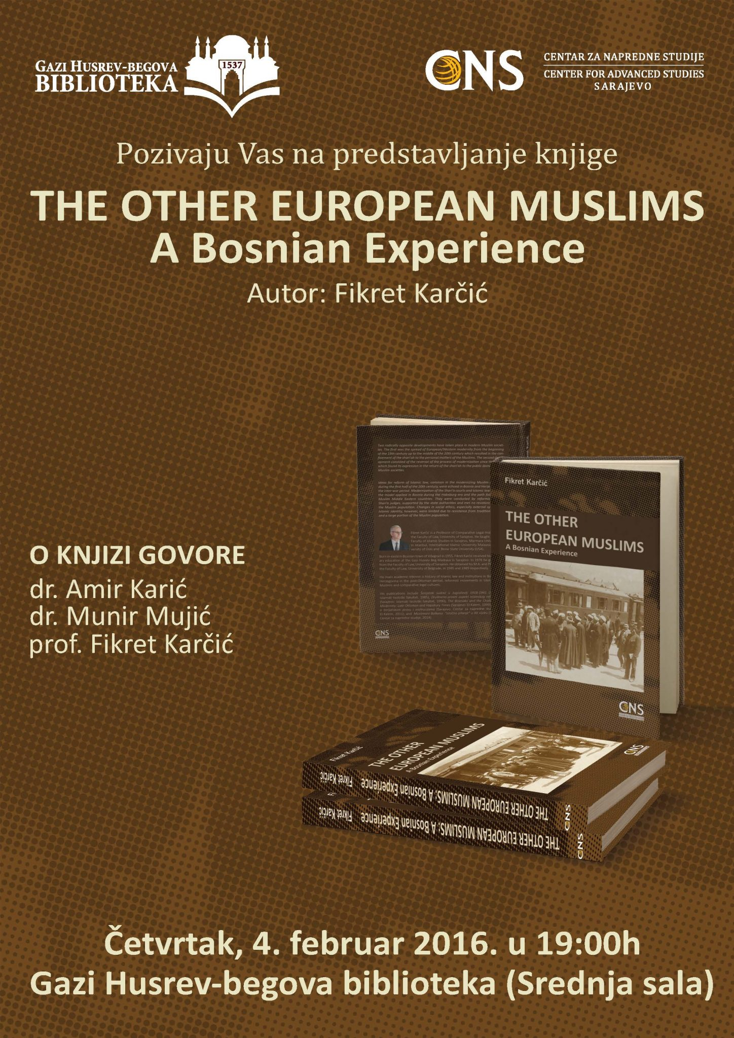 "POZIV: Promocija knjige ""The Other European Muslims: A Bosnian Experience"""